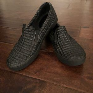 Michael Kors Womens Black Leather Loafers Size 9